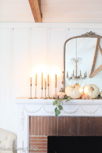 Just 3 things for a romantic autumn fireplace mantel styling