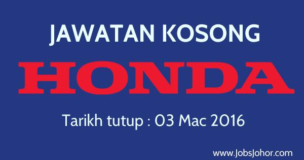 Jawatan Kosong Honda Autoparts Manufacturing (M) Sdn Bhd 2016 Pasir Gudang