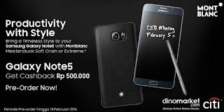 Samsung Galaxy Note 5 Edisi MontBlanc Cashback Rp 500 Ribu + Bonus Aksesoris Seharga Rp 2.500.000