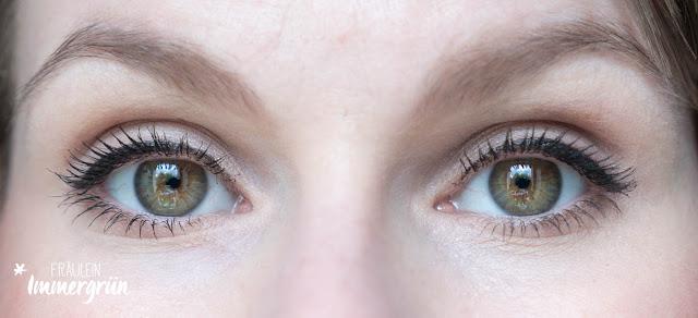 Tragebild Mascara-Vergleich mit der Precision & Care Mascara von Annemarie Börlind und der Maximize Volume Mascara von Alverde.