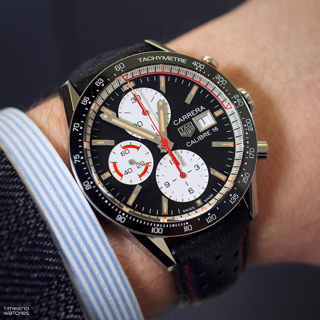 Wristshot of the TAG Heuer Carrera Calibre 16 Chronograph Ref CV201AP.FC6429