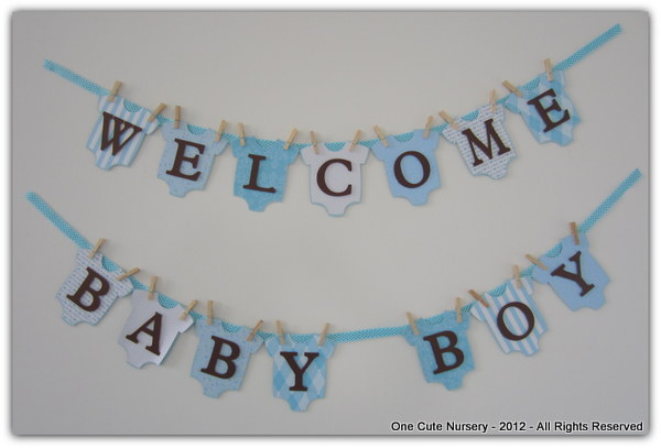 One cute nursery mod baby shower for a boy brown and blue for Baby welcome home decoration