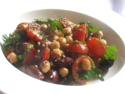 Chickpea Olive Salad with Za'atar and Cherry Tomatoes