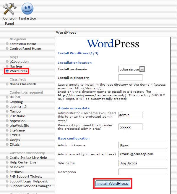 layar pengaturan wordpress di fantastico de luxe