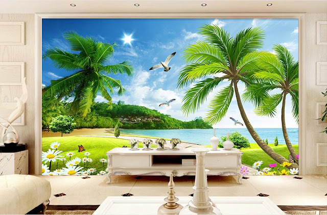 Beach Ocean Wall Murals Landscape Tropical Wallpaper Bedroom Livingroom Palm Tree