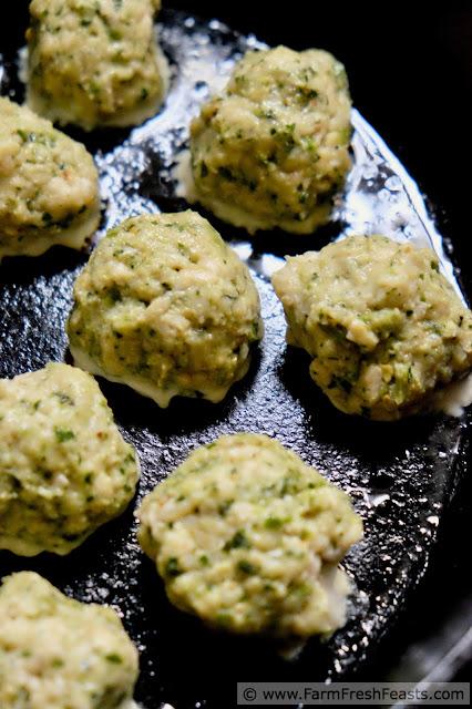 making chicken meatballs with garlic scape pesto