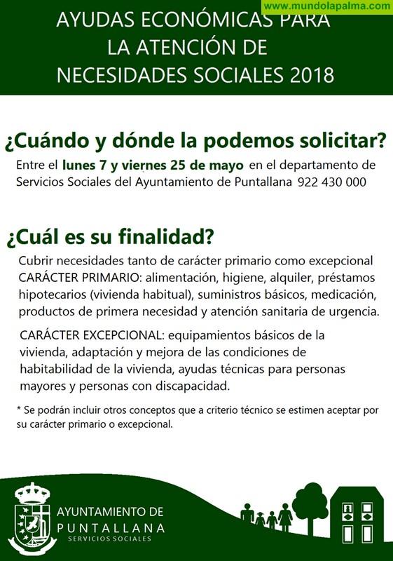 Abierto el plazo de solicitud de ayudas para la atención de necesidades sociales en Puntallana