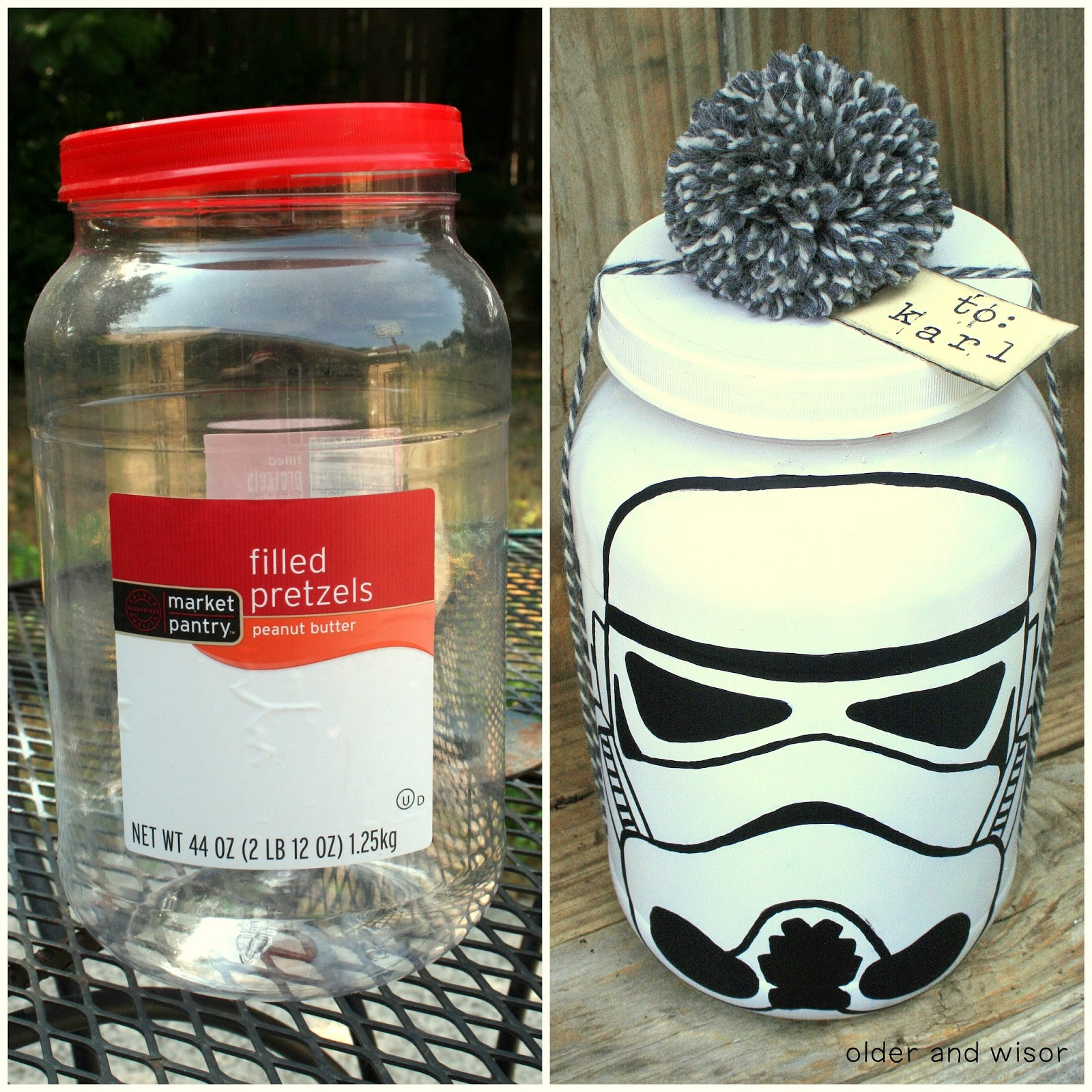 older and wisor diy stormtrooper gift wrap recycling star wars style. Black Bedroom Furniture Sets. Home Design Ideas
