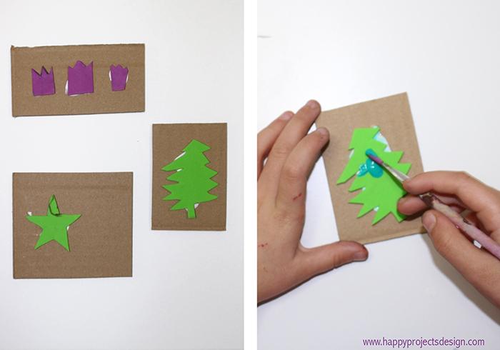 Felicitaciones navideñas handmade con sellos