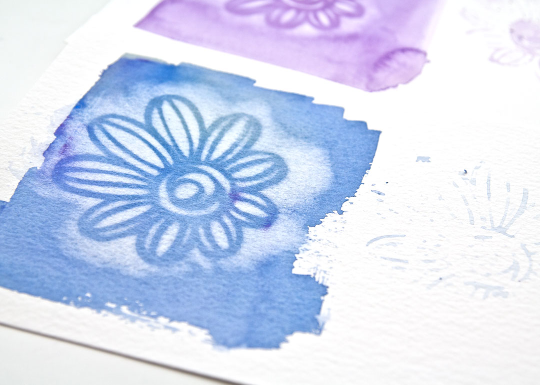 close up of using Magic sponge through a stencil, video by Kim Dellow