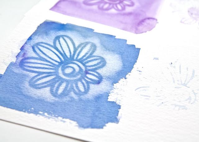 close up of using Magic sponge through a stencil, video by Kim Dellow
