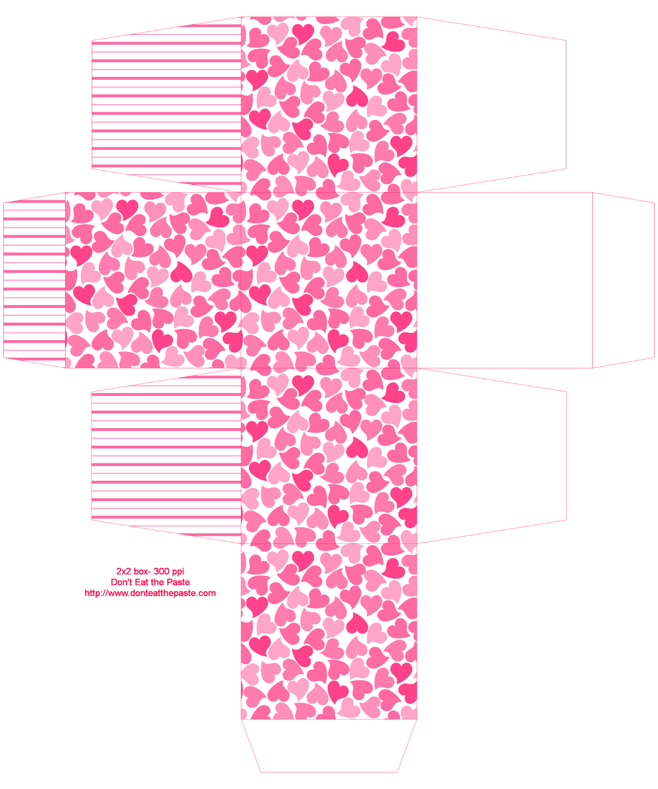 Printable hearts box - 2 sizes available (cube) #papercrafts #printables #giftbox