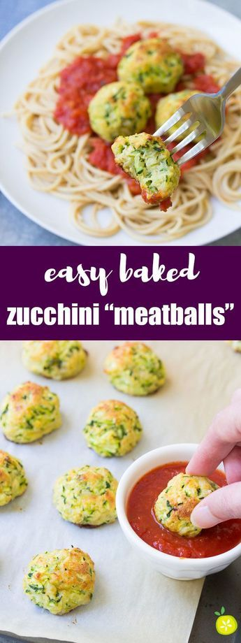 "These healthy Zucchini ""Meatballs"" are an easy 30 minute dinner recipe. Serve them over pasta or as an appetizer with marinara sauce for dipping!"