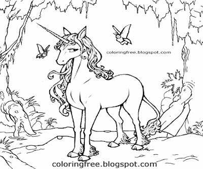 Printable realistic butterfly unicorn drawing mythical creatures coloring scrapbook images for kids