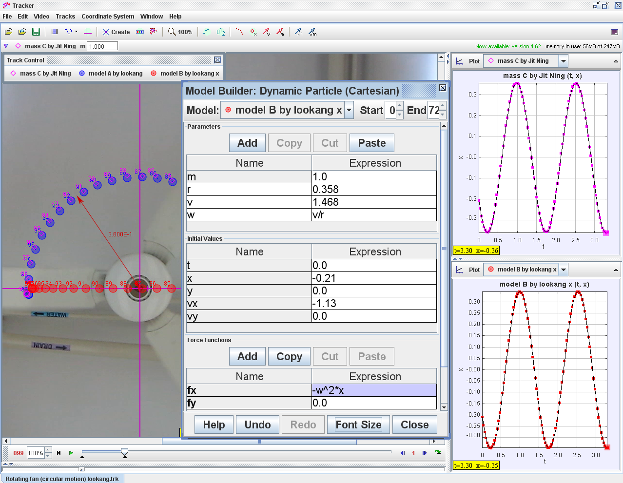Open Source Physics Singapore Tracker Modeling In Uniform Circular Motion Of Fan