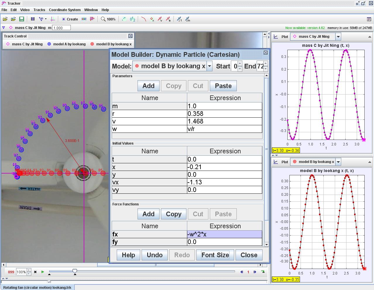 Open Source Physics Singapore Tracker Modeling In Uniform Circular Motion Of Fan