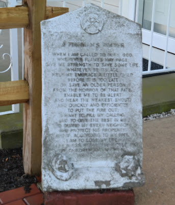 The Fireman's Prayer Memorial Stone in Hummelstown, Pennsylvania