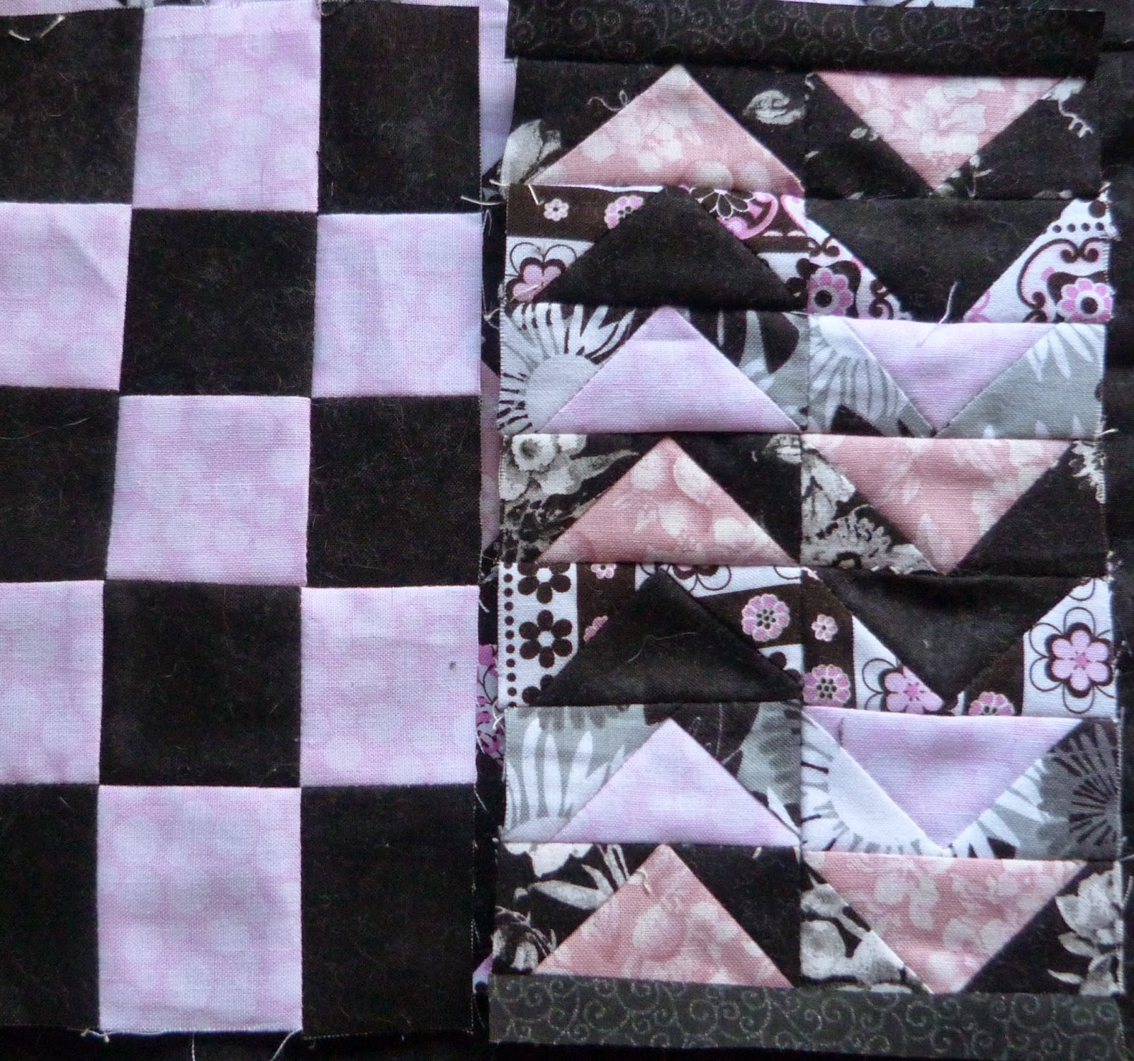 CHQuilts: pink and black filler blocks