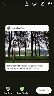 Membuat instagram story dari postingan