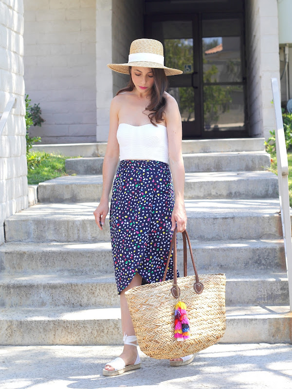 09ee5961592 Top - Topshop (Old) (Similar here and here)   Skirt - J.Crew (Similar here)    Bag - Target (Similar here)   Espadrilles - J.Crew (Similar here)   Hat  ...