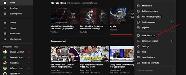 mudahnya mengubah background youtube menjadi hitam/gelap