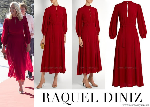 Crown Princess Mette-Marit wore RAQUEL DINIZ Armonia Silk-Georgette Dress