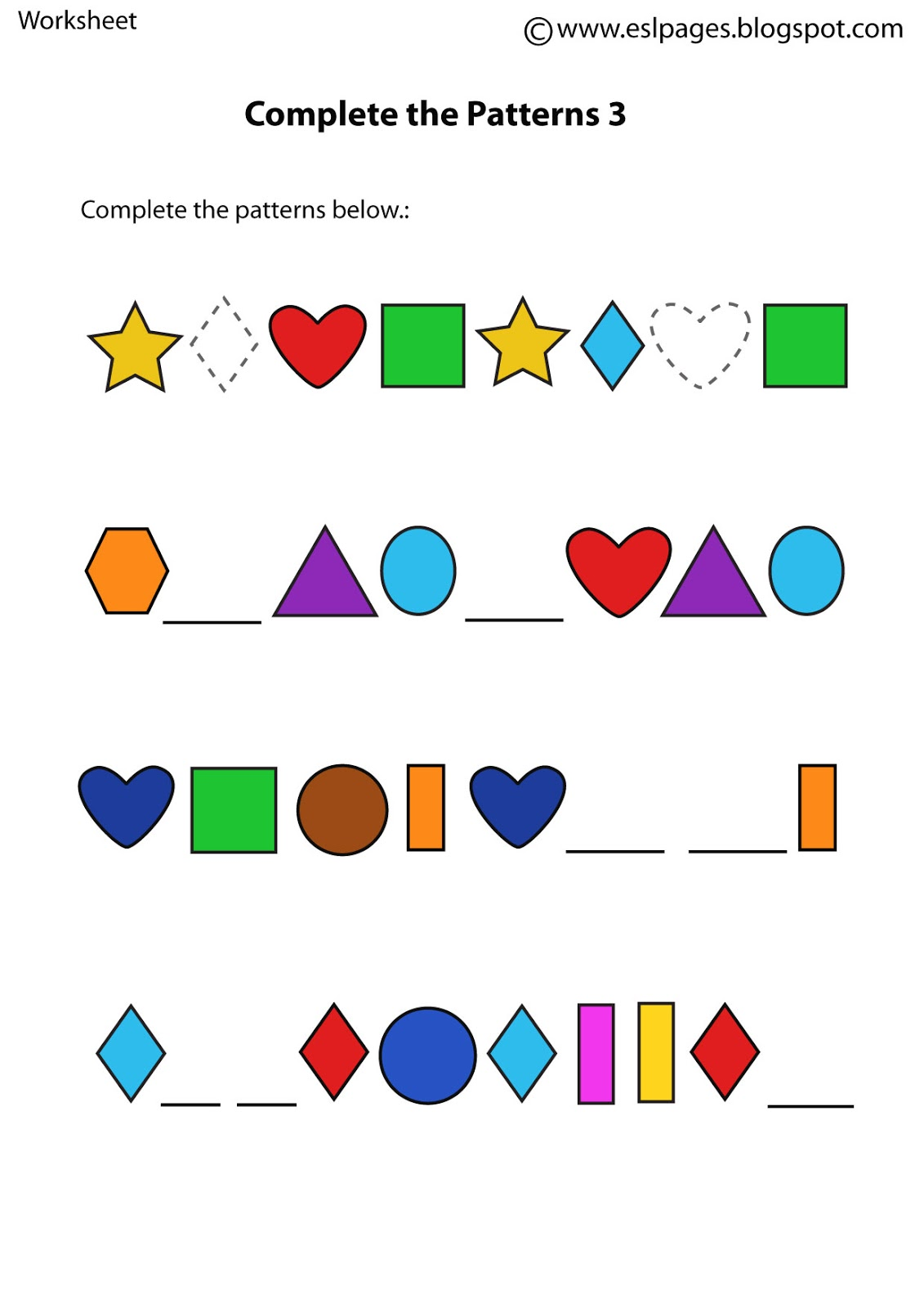Esl Pages Patterns Worksheets