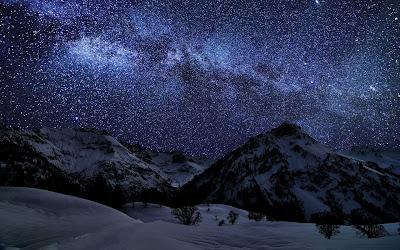 winter sky stars widescreen hd wallpaper