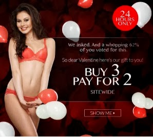 24 Hour Sale: Buy 3 Pay for 2 Offer on Women's Inner wear across entire Site at Zivame