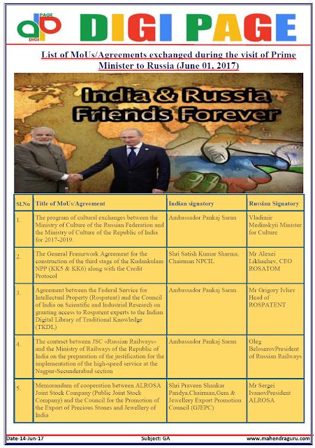 DP | MoUs - India & Russia  | 14 - JUNE - 17 |