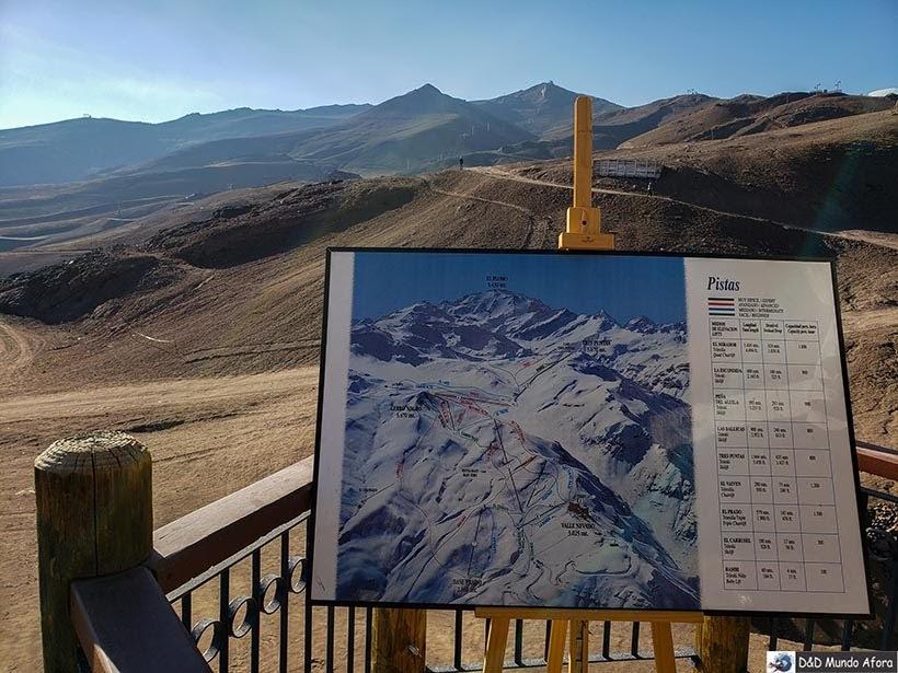 Mapa do Valle Nevado Ski Resort no inverno