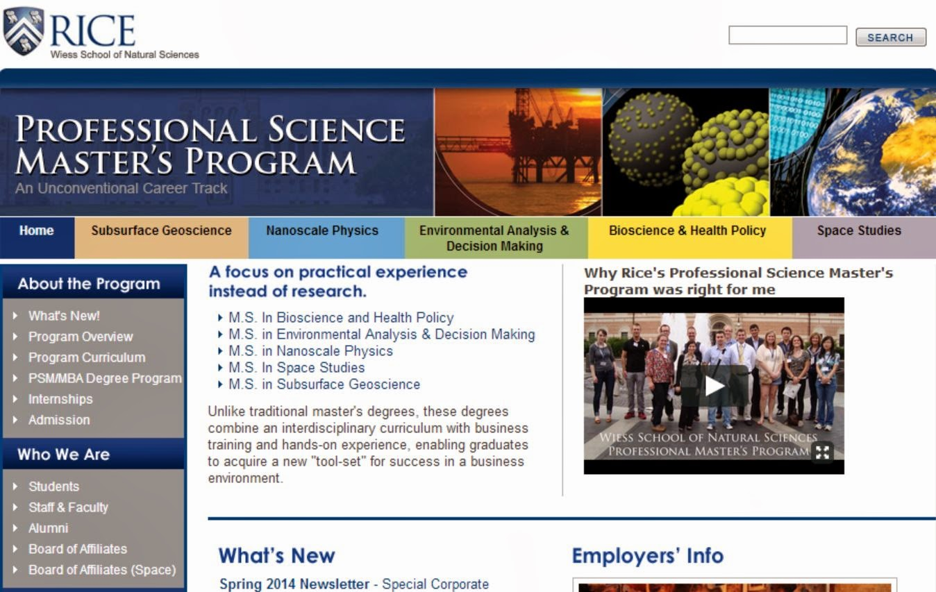 Rice University Professional Master's Program