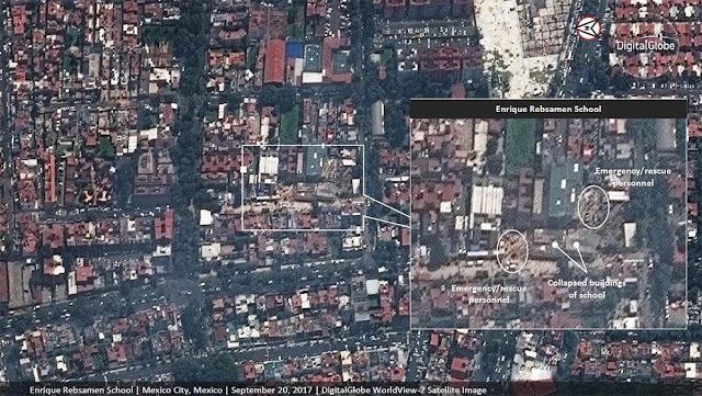Imagem do centro do México após o terremoto de 7.1  feita pelo satélite WorldView-2 da DigitalGlobe