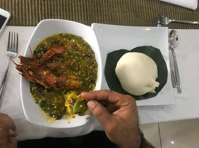 nollywood actor eating fufu okra soup