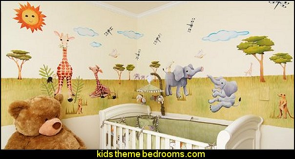 Silly Safari  Animals  wall - Reusable Wall Decoration
