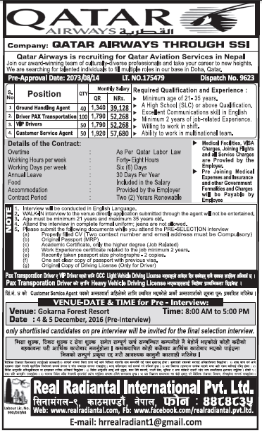 Jobs in Qatar Airways for Nepali, Salary Rs 57,680