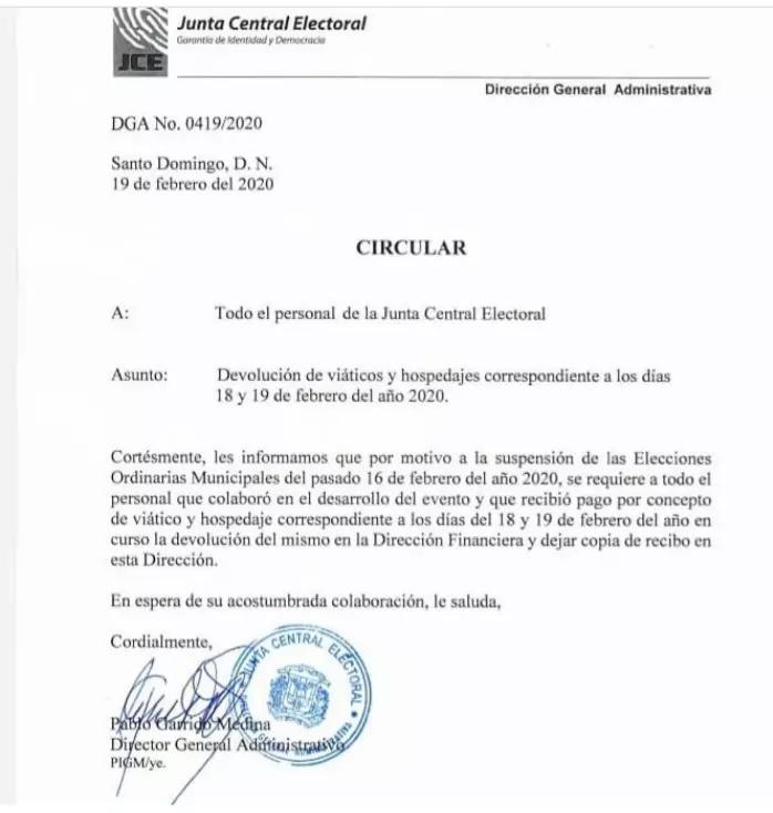 JCE pide devolver dinero pagado por viático y hospedaje
