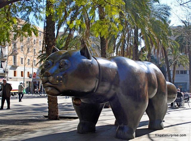 Escultura de Botero - Gato - Rambla do Raval, Barcelona