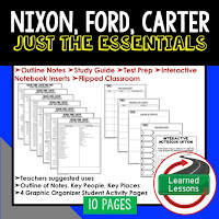 Nixon, Ford, Carter,  American History Outline Notes, American History Test Prep, American History Test Review, American History Study Guide, American History Summer School, American History Unit Reviews, American History Interactive Notebook Inserts