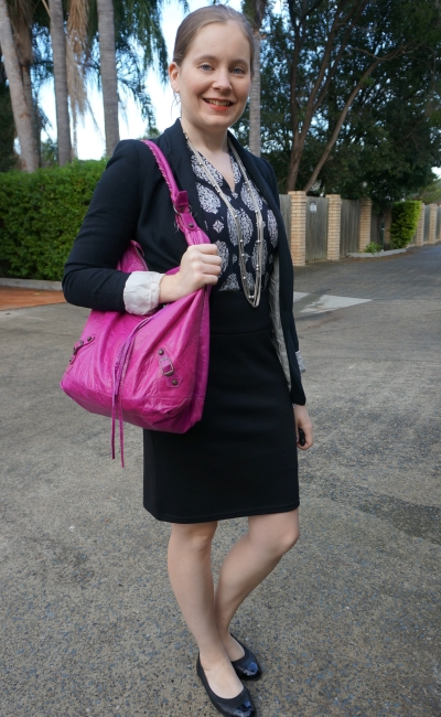 making a casual dress office appropriate skirt suit pink balenciaga magenta day bag | away from blue
