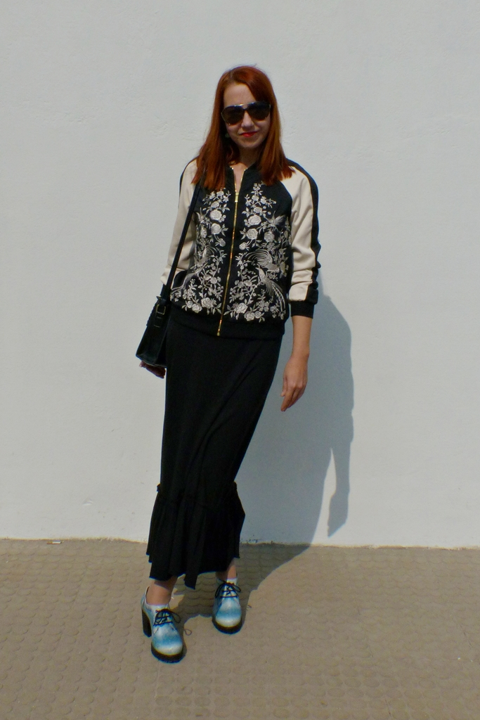 Osaka bomber jacket worn with a maxi dress