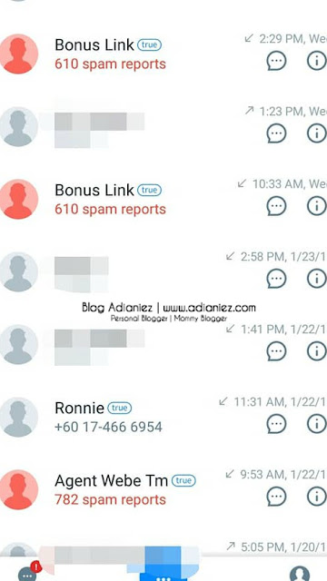 Apps Truecaller ::: Membantu Tapis Panggilan Telefon & SMS Dari Scammer !