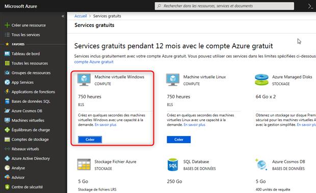 Services gratuits pendant 12 mois avec le compte Azure gratuit