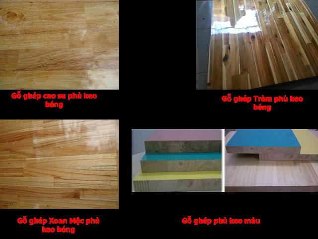 gỗ ghép làm ván nền phủ keo bóng