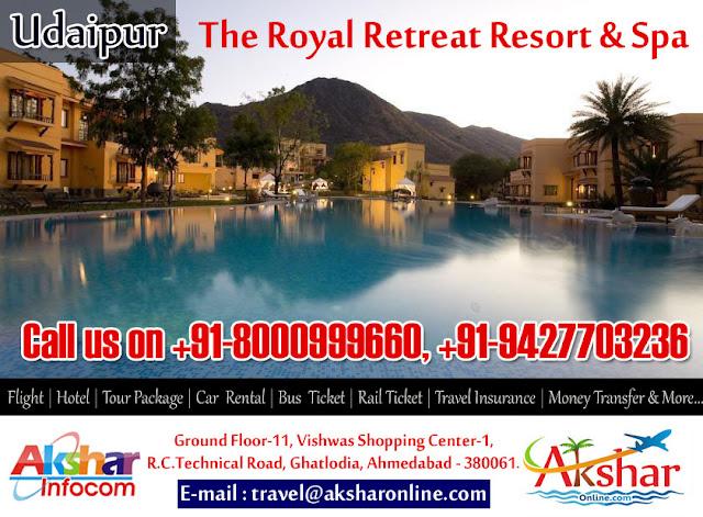 The Royal Retreat Resort & Spa - Udaipur For Booking Call us on (M) +91-8000999660, 9427703236, akshar infocom, aksharonline.com, Udaipur Resort Booking, Best Rates Udaipur Hotel Booking, Udaipur Resort, Royal Retreat Udaipur Booking, Hotel Booking agent in ahmedabad, Udaipur Resort Booking agent in ahmedabad, udaipur car rental, Hotels in udaipur, udaipur deluxe hotel, resort booking, travel booking, bus ticket booking udaipur, travel insurance and more