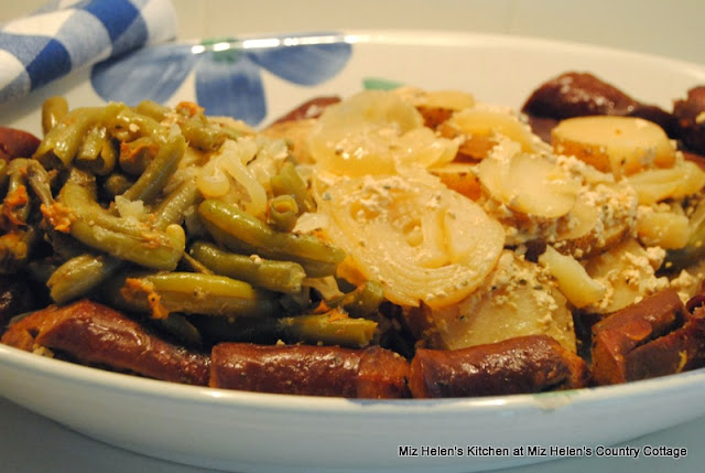 Slow Cooker Green Beans, Potatoes, and Sausage at Miz Helen's Country Cottage