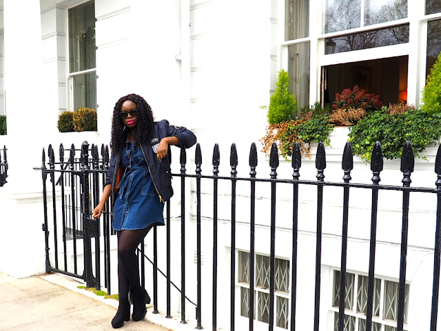 Navy Bomber jacket and denim dress