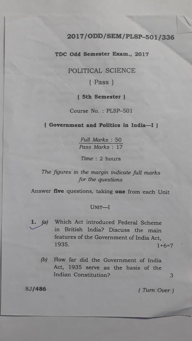 Political Science 5th Semester Question Paper 2017 AUS DOWNLOAD PDF