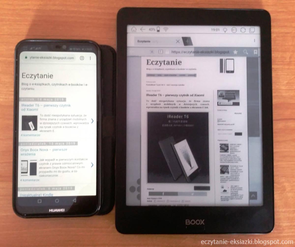 Strona bloga Eczytanie na smartfonie i na czytniku Onyx Boox Nova