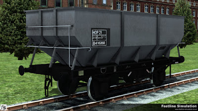 Fastline Simulation: A virtually ex-works rebodied dia. 1/146 21T hopper painted in unfitted grey livery with HOP 21 branding inside a full sized data panel.